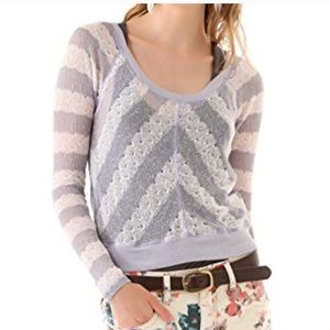 Free People Chevron Open Knit Sweater